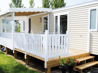 terrasse mobil home mixte bois et pvc composite