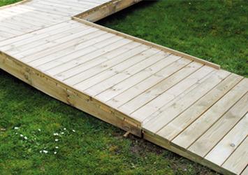 Plan incliné pour accéder à la terrasse mobil home